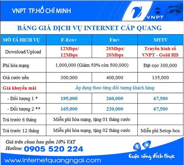 Bảng giá cáp quang VNPT Quảng Ngãi